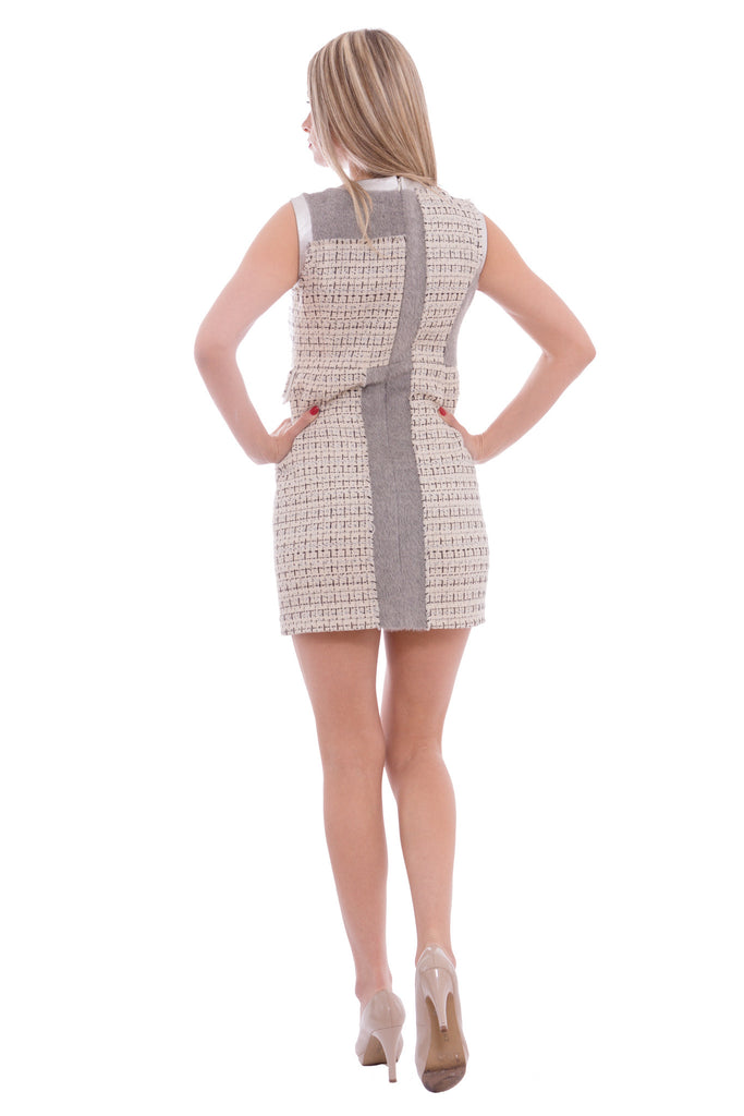 Aula - tweed dress with silver leather - Butikku - 4