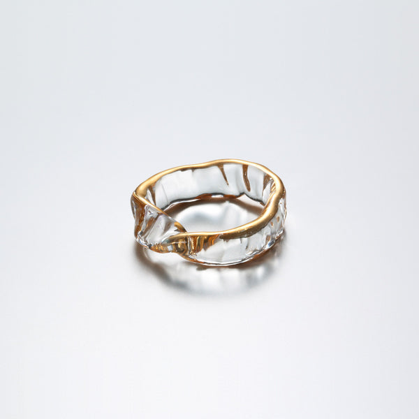 Gold mobius glass ring