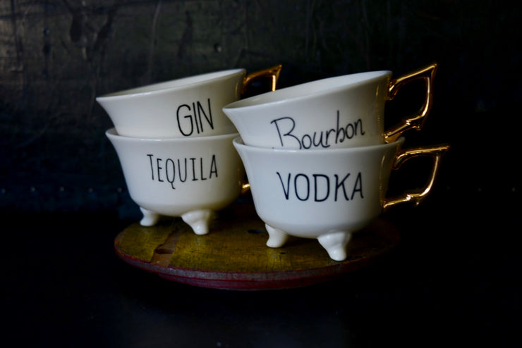 Gin, Bourbon, Tequila, Vodka Tea Cups
