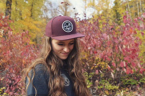 Arrow and Axe Logo ~  Burgandy Full Snap Back Hat