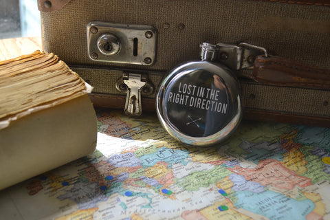 Lost In The Right Direction~ Arrow & Axe Flask