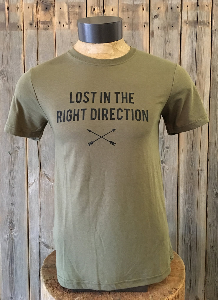 Lost In The Right Direction~ Arrow & Axe Green Short Sleeve