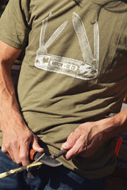 Pocket Knife ~ Arrow & Axe Green Short Sleeve