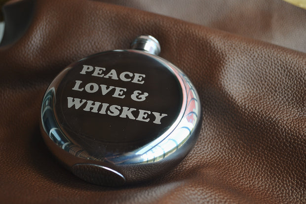 Peace, Love and Whiskey ~ Arrow & Axe Flask