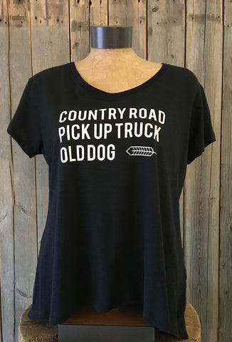 Country Road, Pickup Truck, Old Dog ~ Arrow and Axe Women's Comfort Shirt