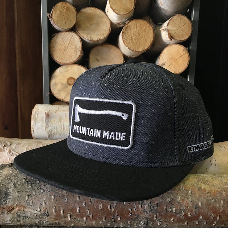 Mountain Made ~ Black Spotted Full Snap Back Hat