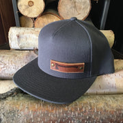 Axe ~ Grey With Leather Full Snap Back Hat
