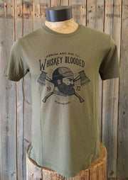 Whiskey Blooded ~ Arrow & Axe Surplus Green Short Sleeve