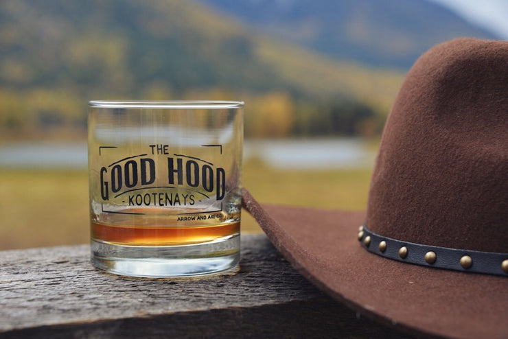 The Good Hood ~ Arrow and Axe Whiskey Glass