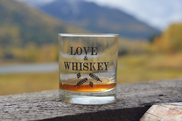 Love & Whiskey ~ Arrow and Axe Whiskey Glass
