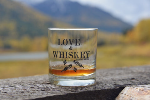 Peace, Love & Whiskey ~ Arrow and Axe Whiskey Glass