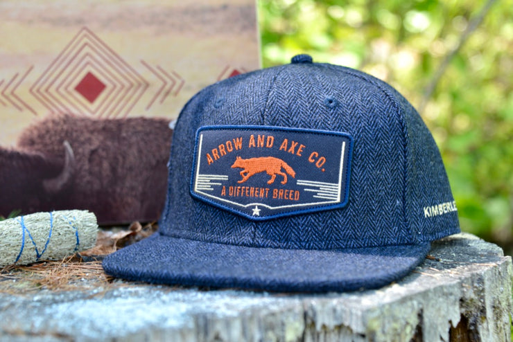 A Different Breed Indigo Herringbone Full Snap Back Hat