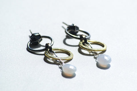 White Gold Dangling Studs