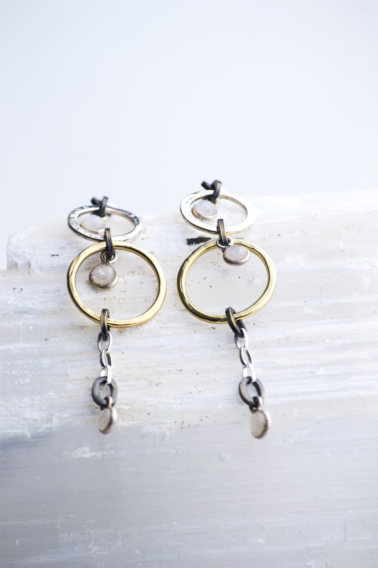 Moonstone Drops in Gold Hoops Dangle