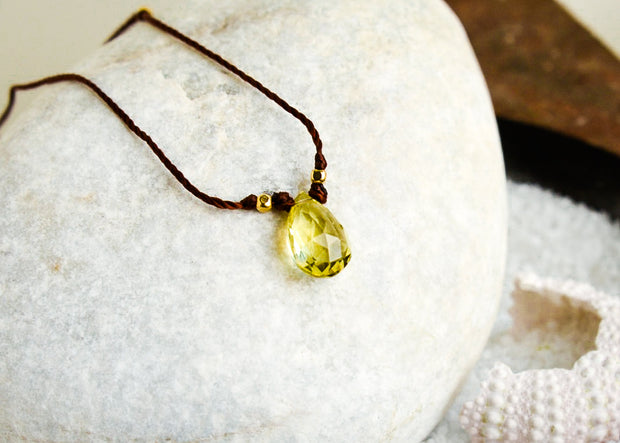 Lemon Quartz  Minimal Necklace