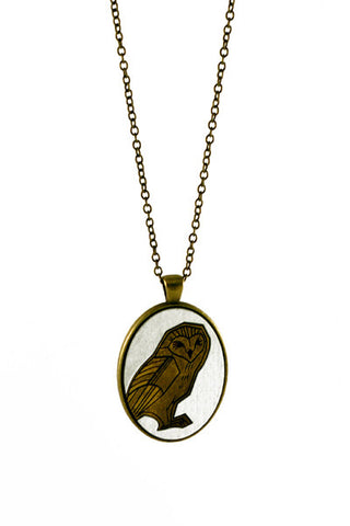Wood and Brass Owl Necklace