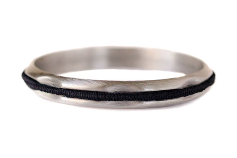 Hair Tie Bangle Brushed Silver