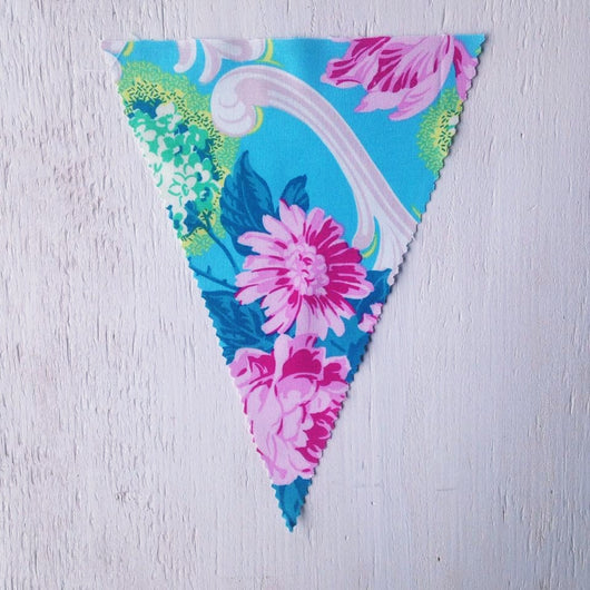 Bright Turquoise Floral Flag