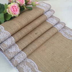 Hessian Table Runner Lace Edged - White