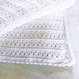 White Stripe Crochet Throw