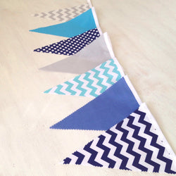 Grey Blue Chevron Flags
