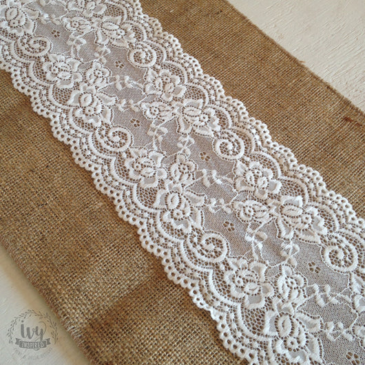 Hessian Table Runner - Cream Lace