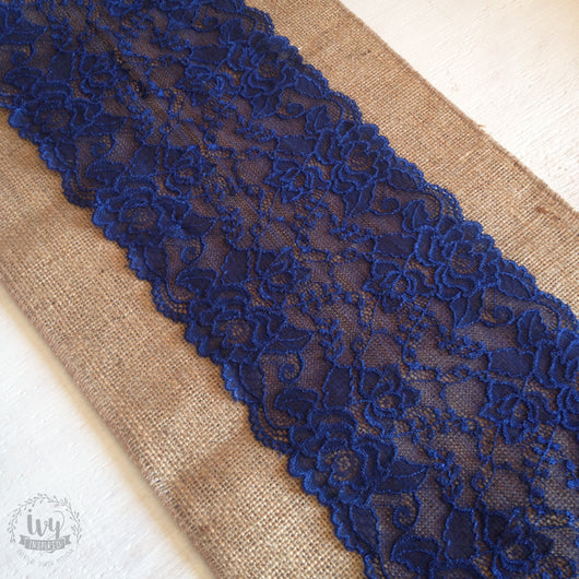 Hessian Table Runner - Navy Lace