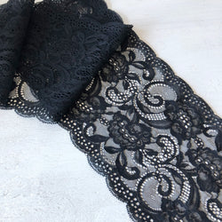 Lace Black 150mm - per metre
