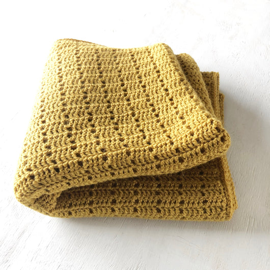 Mustard Crochet Throw