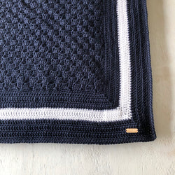 Navy Crochet Throw