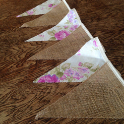 Hessian & Purple Floral Flag Decoration NZ
