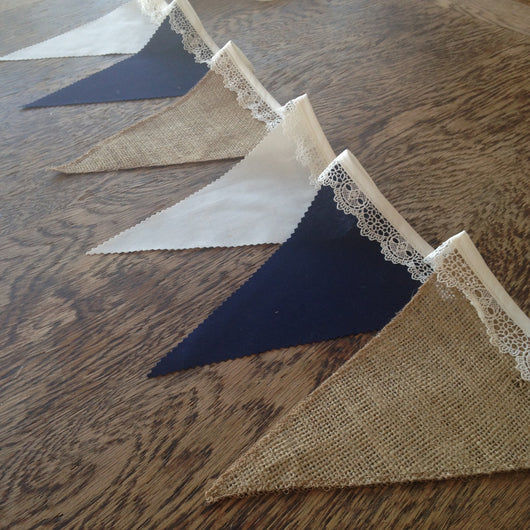 Hessian, Navy & Cream