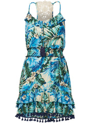 Tropical Palm Ruffle Dress