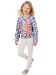 Blue Ikat Neon Jacket - For Kids