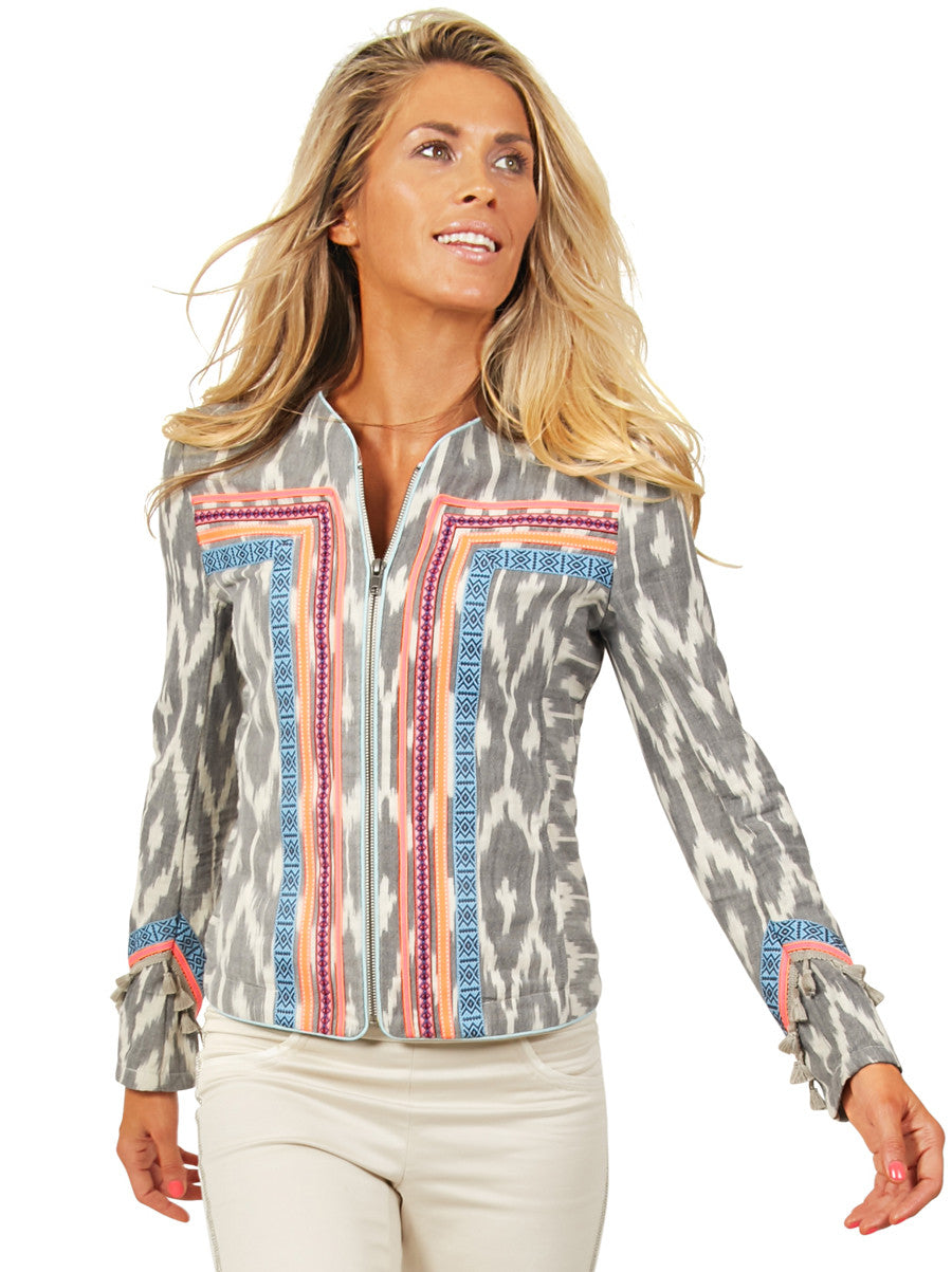 Grey Ikat Neon Jacket