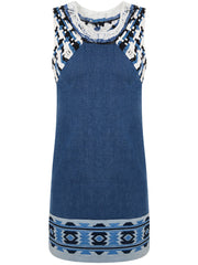 BLUE DENIM MACRAME DRESS