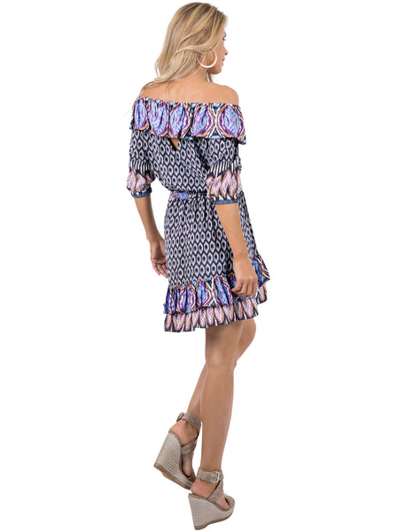 BOHO BLUE IKAT DRESS