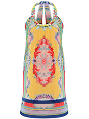 our print on the CHICAMEO Baroccan Summer Dress features an iconic baroccan print in bright colours such as warm yellow, coral-pink, turquoise and sky-blue.