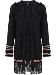 Soft wool, open jacket with decorative trims in metallic, grey, black and white on the sleeves, and a large suede fringe around the hemline with red and cream trim