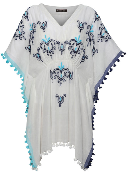 Soft cotton kaftan with decorative embroideries at the front and coloured tassels all the way from shoulder to hemline on both sides.  100% Cotton.