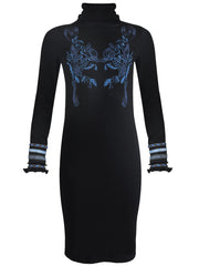 Azur Embroidered Turtleneck Wool Dress