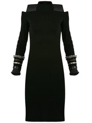 Tribal Metallic Wool Dress