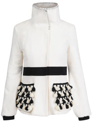 Soft, cream-coloured wool jacket with black wool panel around the waist to give that nice shape as well as black cuffs and special wool tassels in black and cream colour on the pockets.
