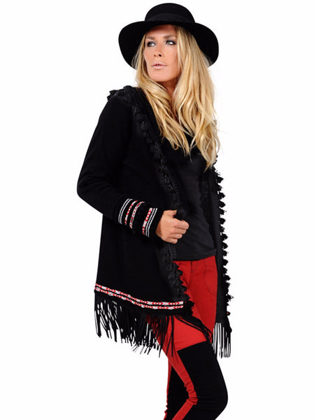 Black Fringe Wool Cape