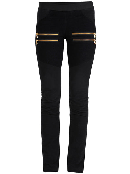 Velour leggings with good stretch and soft hand feel. Different panels which has a slimming effect on front legs, side pockets and at the back. Chunky gold zippers on the front.