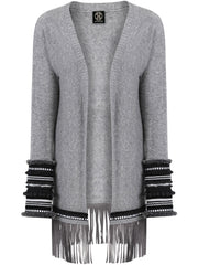 Soft wool, open jacket with decorative trims in metallic, grey, black and white on the sleeves, and a large suede fringe around the hemline.