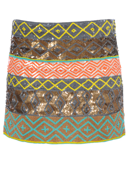 Hand embroidered sequin skirt with decorative pattern in bright yellow, neon orange, turquoise, grey and metal colours that create a unique, fresh and hot summer look.