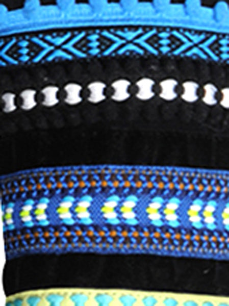 Soft wool sweater with decorative cuffs on both arms in colourful folklore trims and pompoms as well as hand-stitched blue stitches around the collar line.