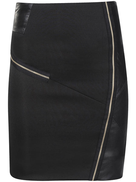 Stretchy quality fabric with decorative black Italian leather panels on both sides together with chunky silver zipper details.
