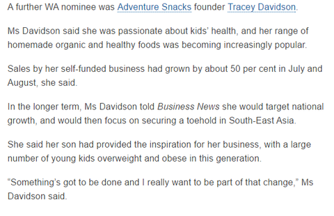 Adventure Snacks on Business News